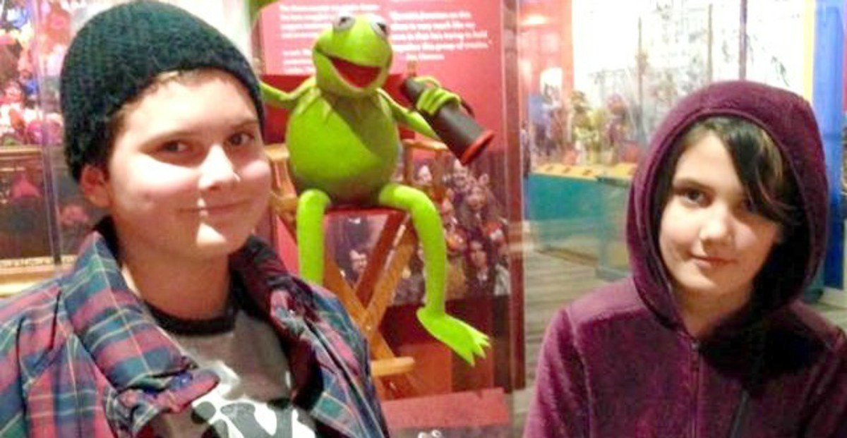 Quinn, left, and Sisi at the Jim Henson exhibit at the Center for Puppetry Arts in Atlanta.