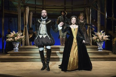 "William DeMeritt, Brianca Knight, Al Espinosa, and Jamie Ann Romero in ""Shakespeare in Love."""