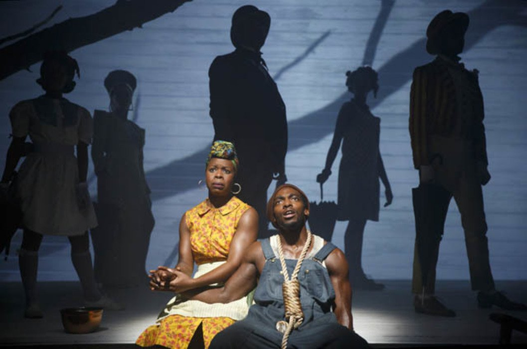 "Mirirai Sithole, Amelia Workman, Roslyn Ruff, David Ryan Smith, Daniel J. Watts, Nike Kadri, and Jamar Williams in ""Death of the Last Black Man  in the Whole Entire World"" at Signature Theater."