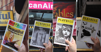 Some of Aaron's $1,000 of theater Playbills