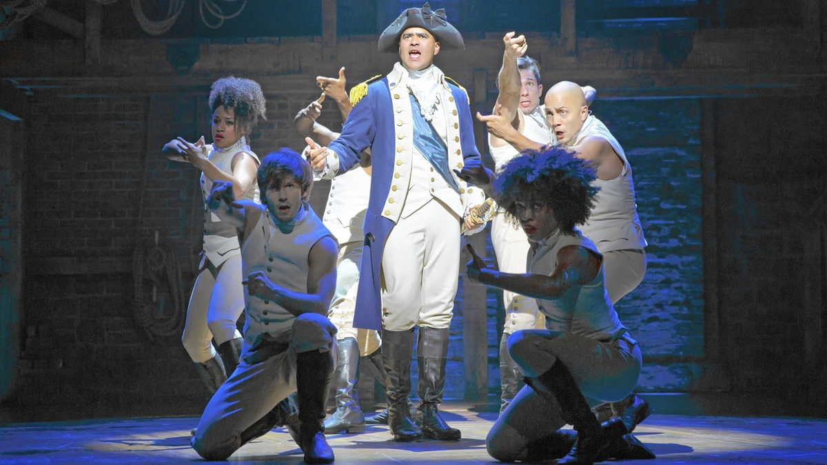 "Christopher Jackson as George Washington and the cast of ""Hamilton"""