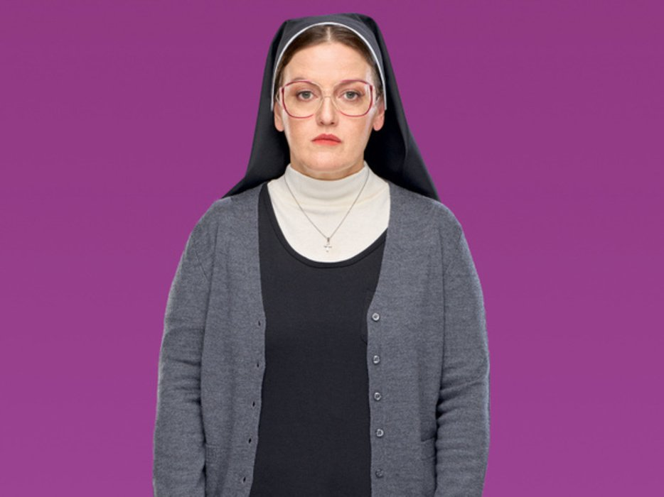 "Jennifer Simard as Sister Mary in ""Disaster!"""