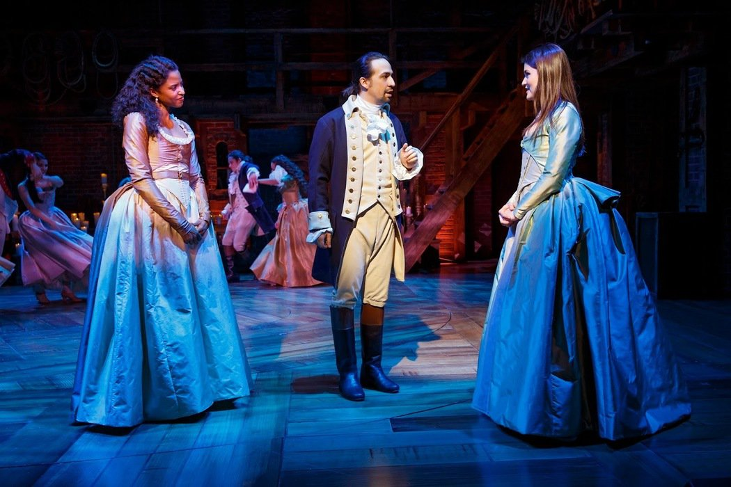 "Renée Elise Goldsberry, Lin-Manuel Miranda, and Phillipa Soo in ""Hamilton"""