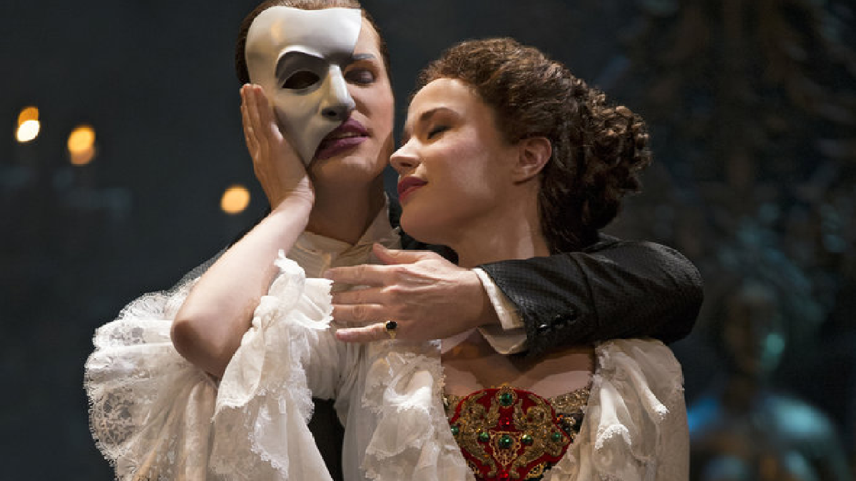 "Hugh Panaro and Sierra Boggess in the 25th anniversary production of ""The Phantom of the Opera"""