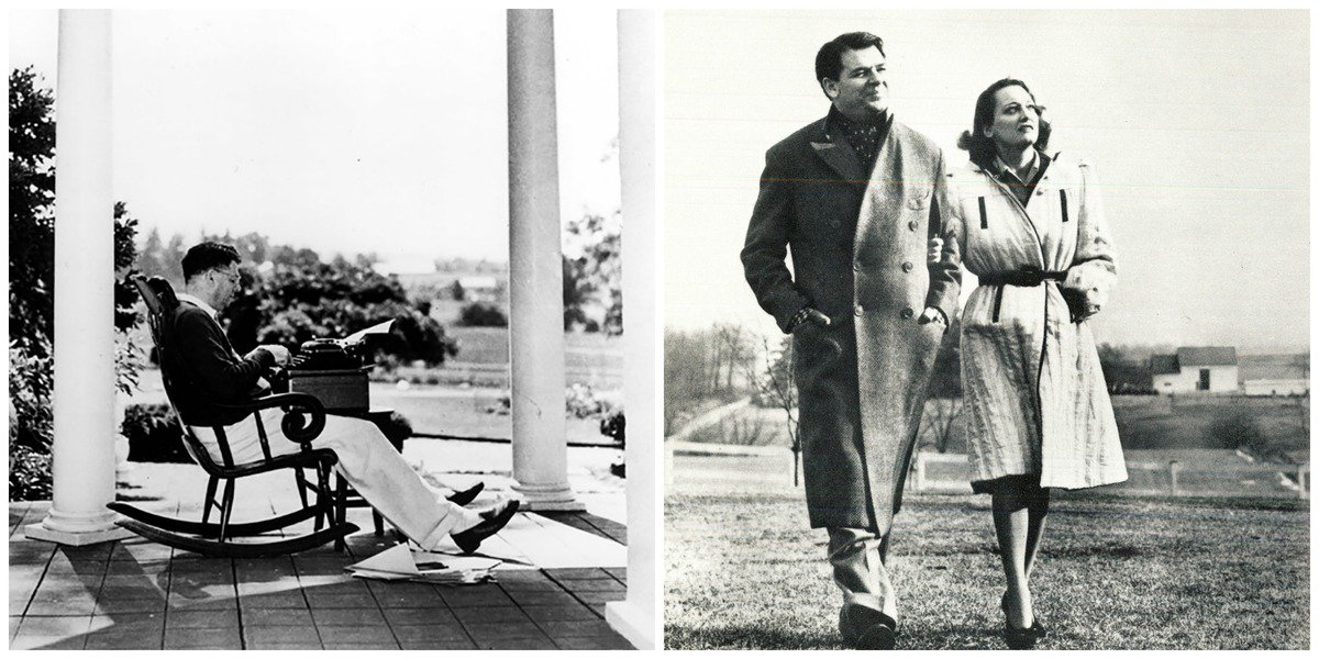 Oscar Hammerstein writing and touring the grounds with his wife Dorothy