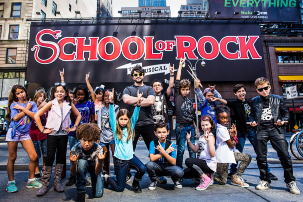 "Alex Brightman and the cast of ""School of Rock"" Broadway"