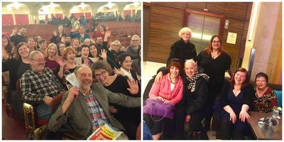 Members gather in the theater, and after at Show-Score Socials!